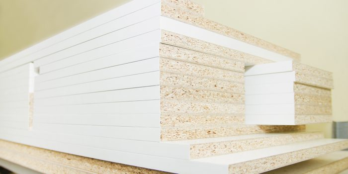 Details carpenter for furniture, MDF close-up of the background